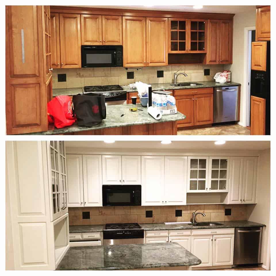 White kitchen cabinet makeover