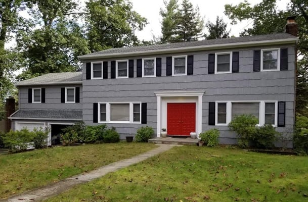 gray black red house