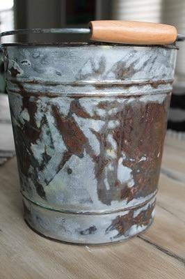 aged galvanized metal bucket