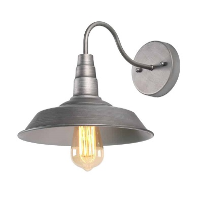 Farmhouse Wall Sconce, 1-Light Wall Lamp Bedside Light Fixtures in Hand-Polish Nickel Finish