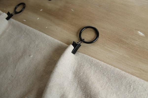 black curtain clips on drop cloth curtain