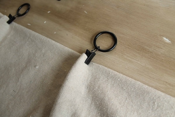black curtain clips on drop cloth curtain