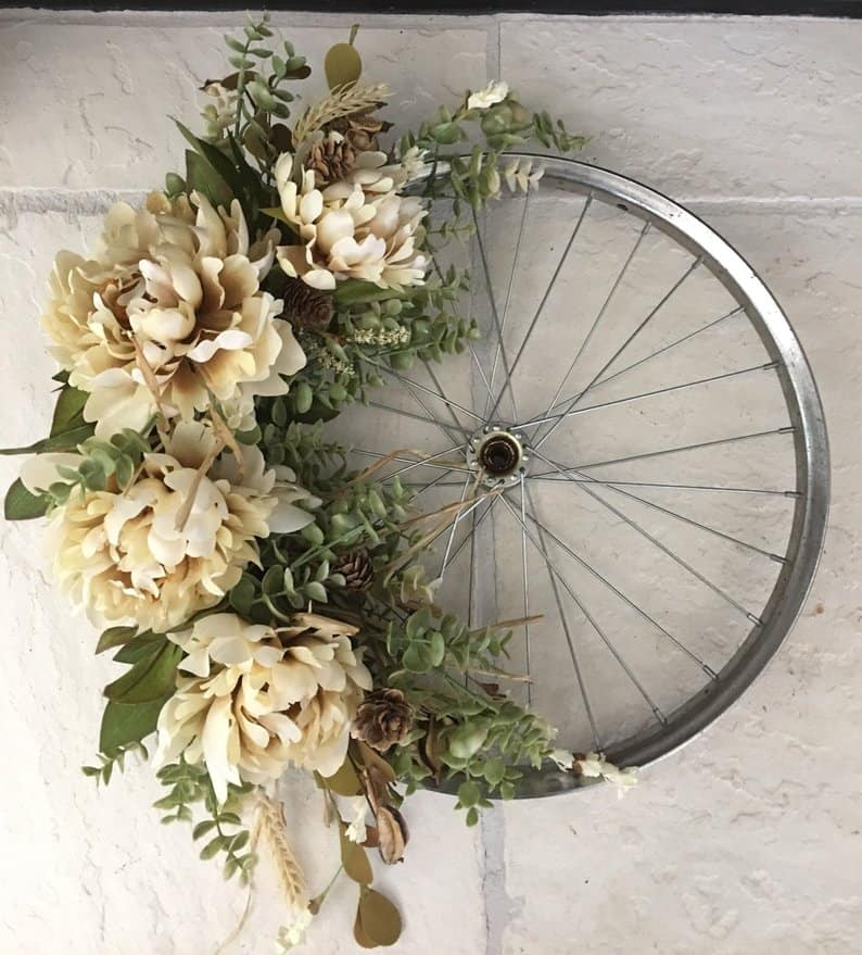 Bike wheel Wreath