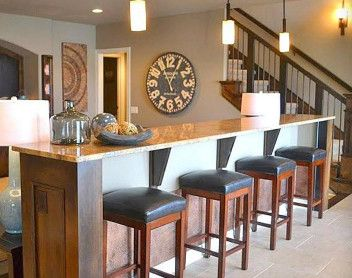 home bar with pendant lighting