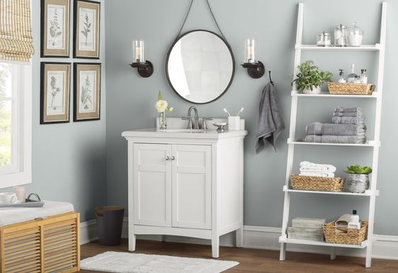 bathroom with gray walls and white vanity