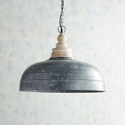 galvanized & wooden bell pendant light