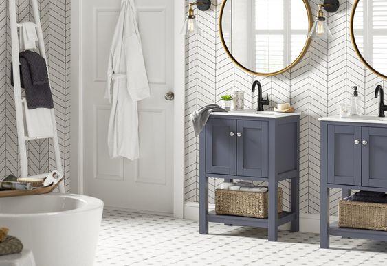 farmhouse bathroom floor tile west
