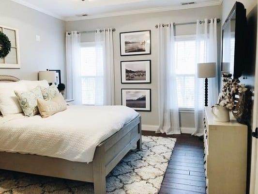 warm toned bedroom