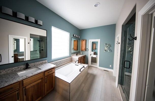 blue spa like bathroom