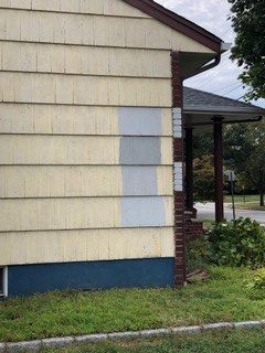 gray paint swatches on exterior
