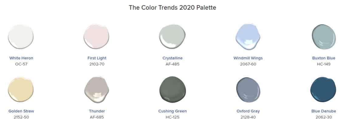 BM the color trends 2020 palette
