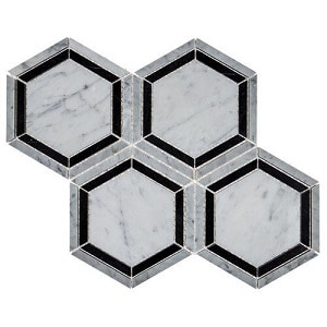 Natural Stone Mosaic Tile in Marble Black and White