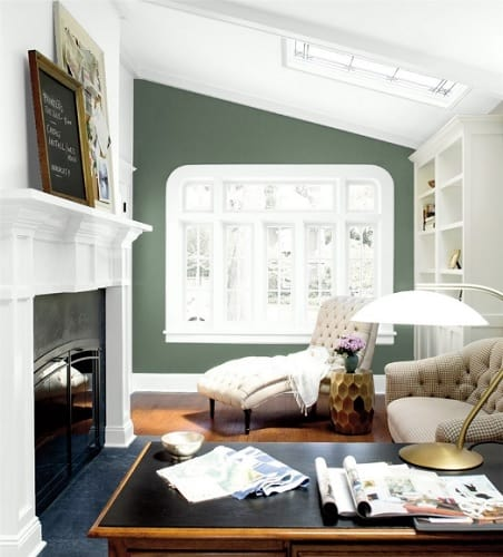 green accent wall in office
