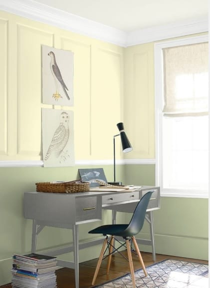 yellow and green home office