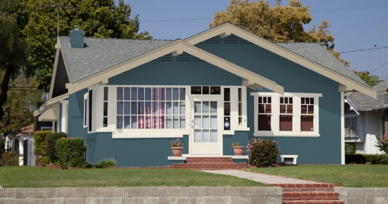 blue off white and tan house