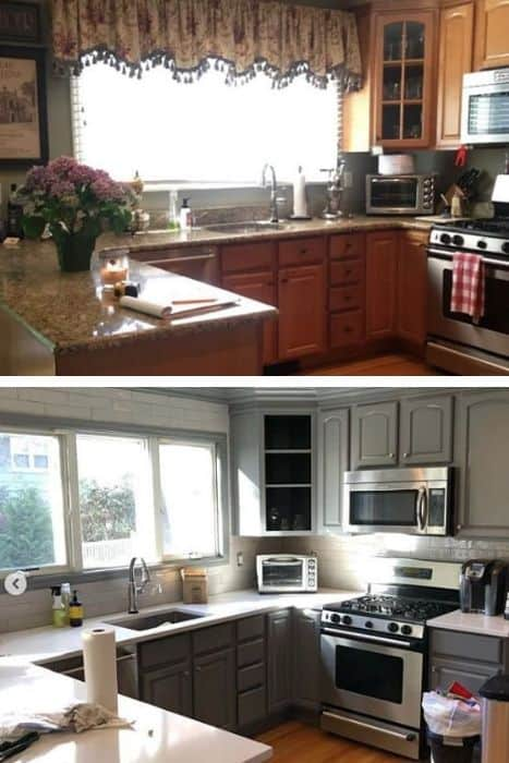 Gray Kitchen Cabinet Before & After