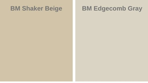 shaker beige vs. Edgecomb gray
