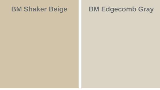 shaker beige vs. Edgecomb gray