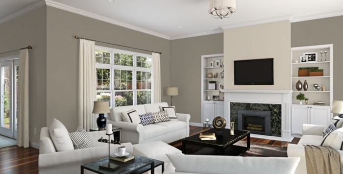 Accessible Beige accent fireplace