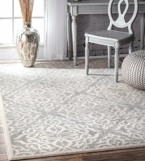 white and silver rug