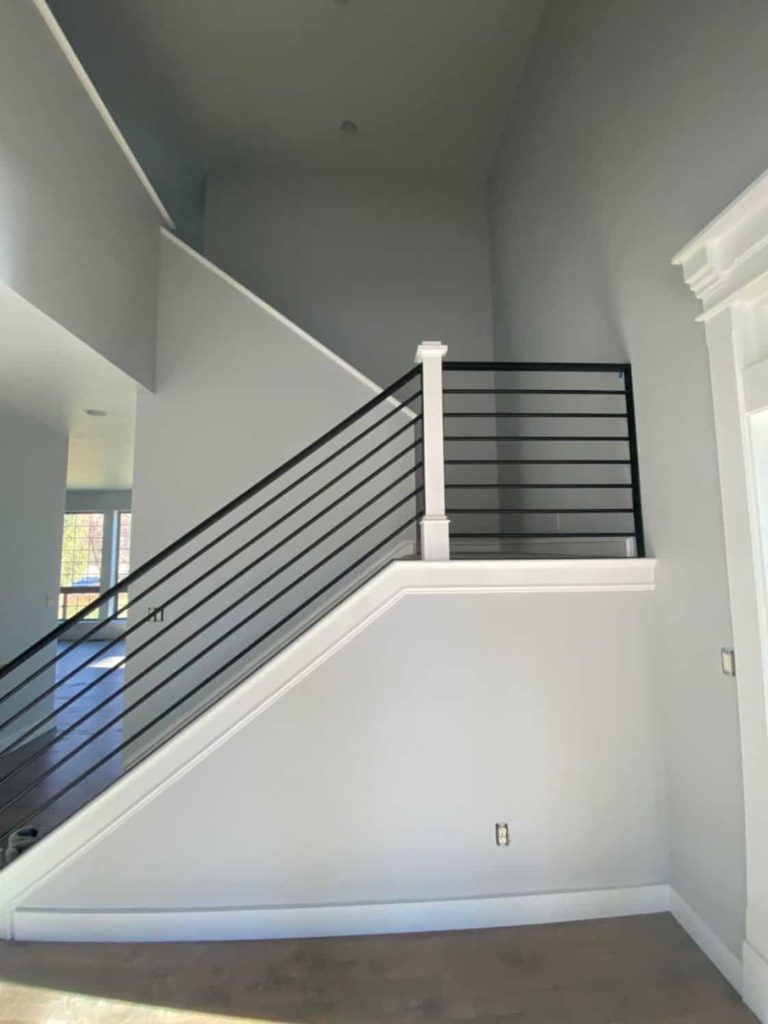 black stair railing