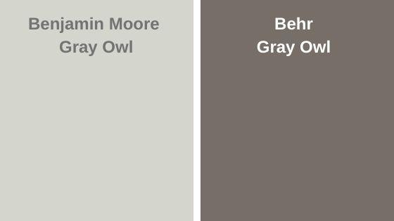 BM Gray Owl vs Behr Gray Owl