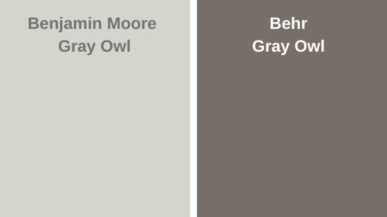 BM Gray Owl vs Behr Gray Owl
