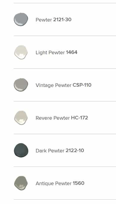 BM Pewter Paint Colors