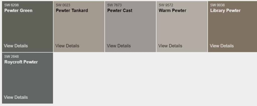 SW Pewter Colors
